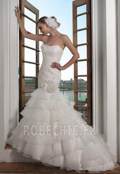Robe de mariée 2014 Gradins Formelle Longueur au sol Bustier élancé