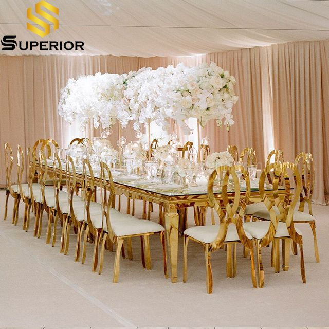 Wholesale Royal Hotel Event Furniture Wedding Restaurant Glass Dining Table In 2021