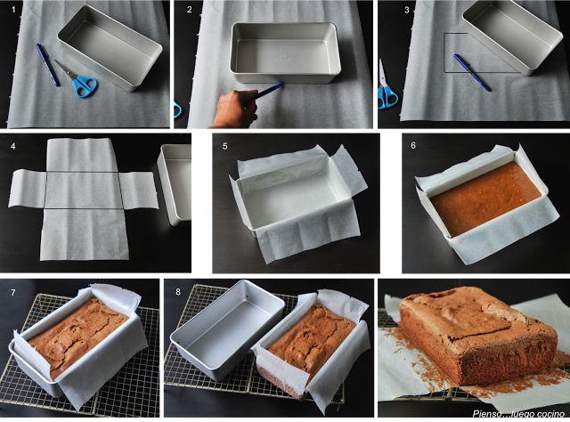 Una gran idea para sacar vuestros panes y bizcochos del molde con facilidad. Vía http://pienso-luego-cocino.blogspot.com.es/2013/10/forrar-moldes-ii_1.html #hazteunpansano  www.pansano.net
