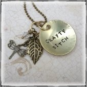 I'm A Crafty Bitch Necklace with Leaf and Dragonfly Charms - Hand Stamped Brass  #DzignbyJamie  #thecraftstar  $25.00