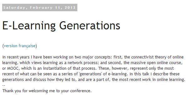 Half an Hour: E-Learning Generations