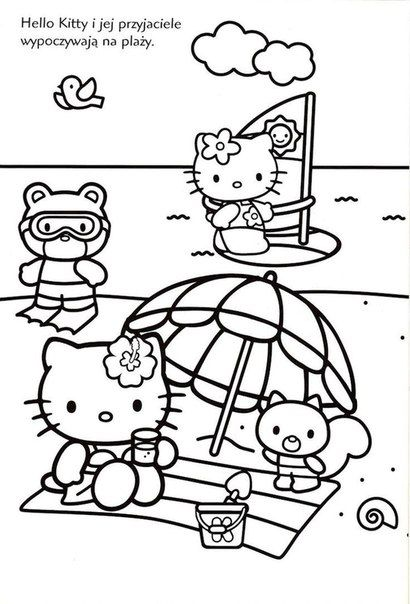 20 best summer camp hello kitty images on pinterest for Hello kitty summer coloring pages