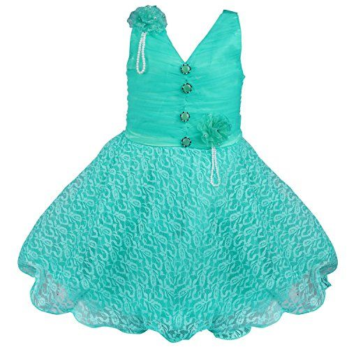 Wish Karo Girls Party Wear Frock Dress (Fe1031sg-3-4 Yrs_Sea Green_3-4 Years)
