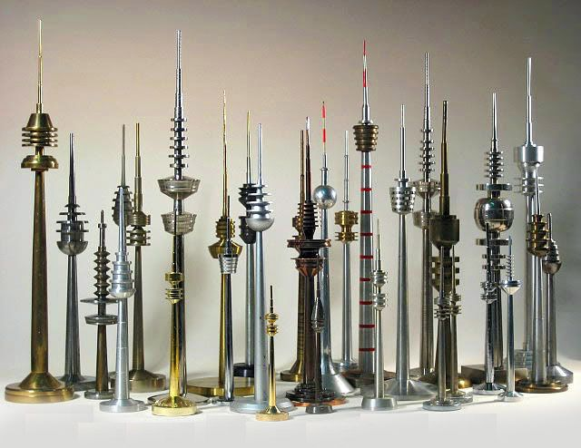 These amazing models of DDR communication towers were made in Germany. I'm obsessed with them. They look amazing in groups!