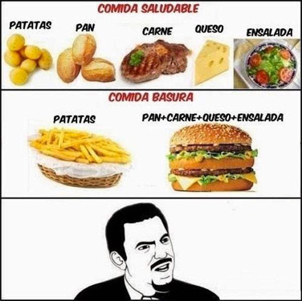 Comida saludable vs Comida basura