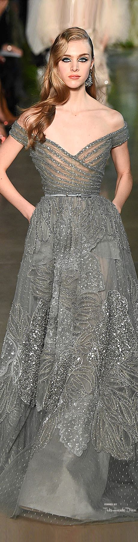 Elie Saab Spring 2015 Couture. This silver, subtly patterned and glittered gown truly is a beauty.: