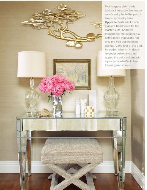 mirrored desk with x bench seating