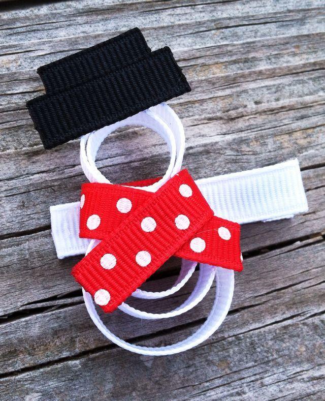 Snowman Ribbon Sculpture Hair Clip - Holiday Hair Clips - Toddler Hair Clips