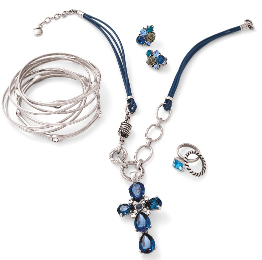 A striking collection of some of our beautiful blue items - the cross enhancer steals the show!