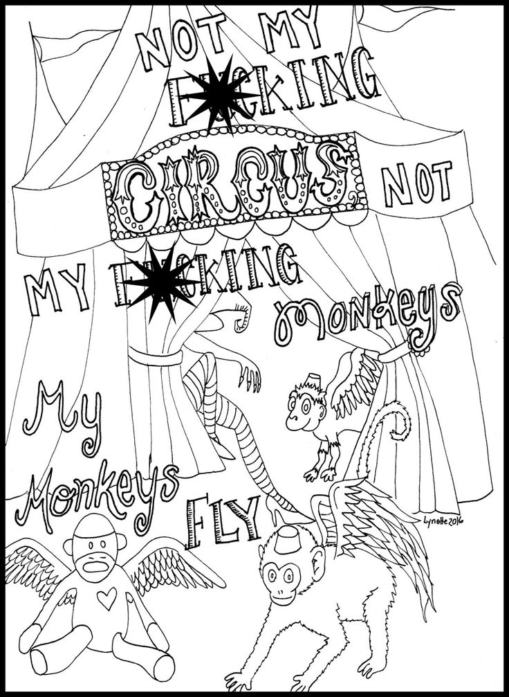 Sweary Coloring Page Mature Content Flying Monkey Cuss Word Swear Adult