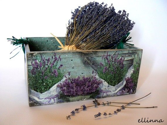 """Wooden greeny/purple herbs case """"French lavender"""""""