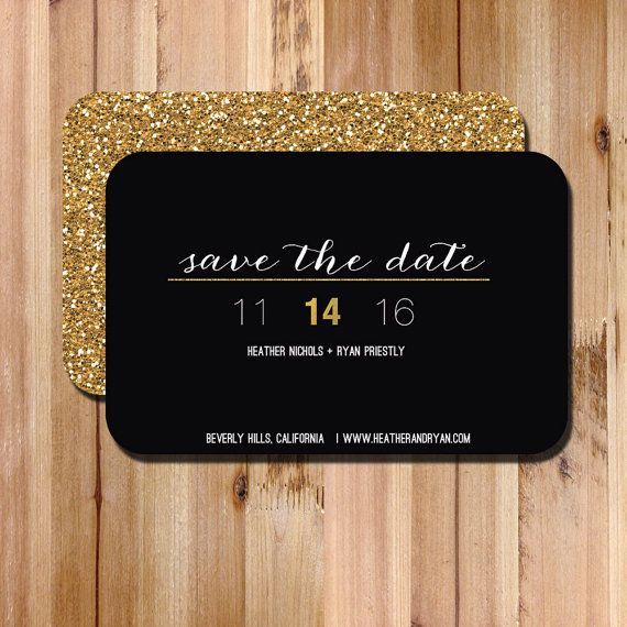 349 best graphic design events images on pinterest invitations save the date invitation modern black and gold glitter save the date card diy printable wedding invite business card size magnet reheart Gallery