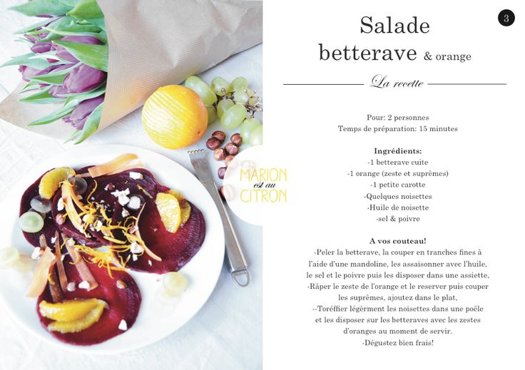 Recipe card! Salade de betterave, orange et noisettes torréfiées. http://marionestaucitron.com/2015/02/10/rouge-comme-une-betterave/