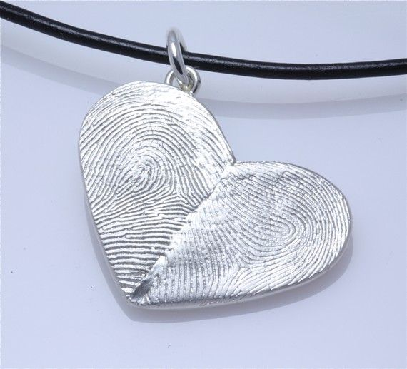 Sterling Silver Custom Double Thumbprints Pendant or Charm Heart shaped ~ ♥ it!!!