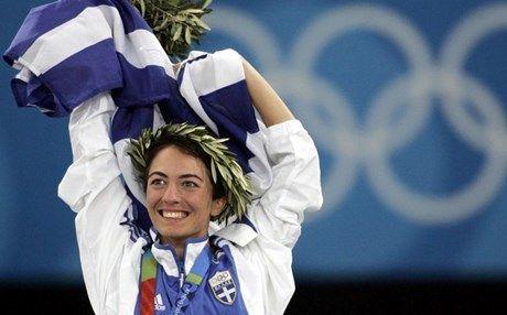 Athens 2004. gold medal in 20km. Athanasia Tzoumeleka