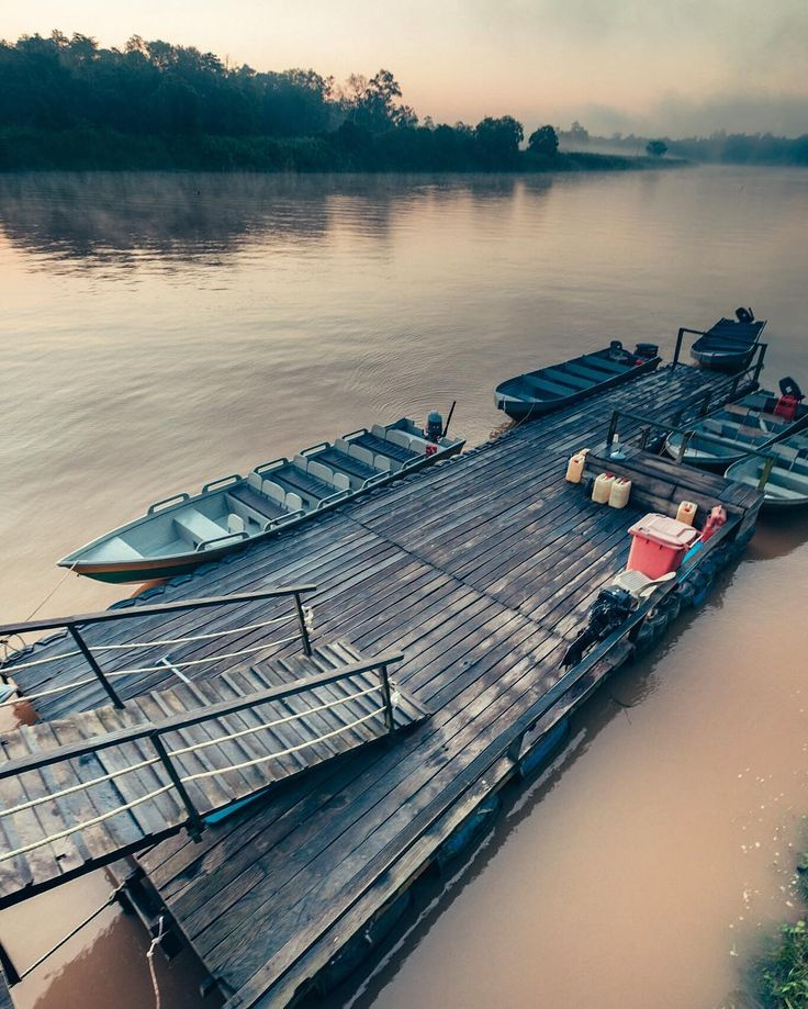 Early morning at the Kinabatangan River in Borneo. The boats are ready for some adventures on the River! [#borneo] [#kinabatangan] [#malaysia]