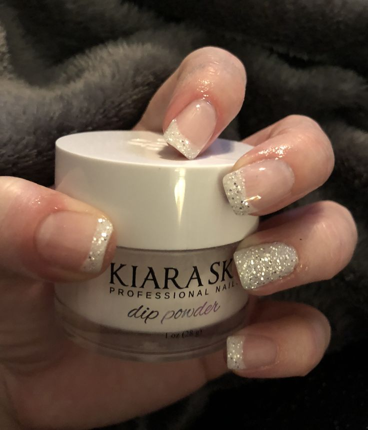 French Mani With A Glittery Twist Using Kiara Sky Nail Dip