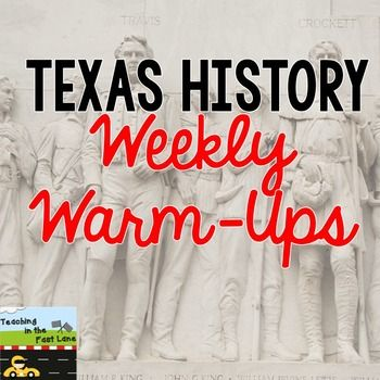This paid product is 30 weeks worth of Monday through Friday Texas history warm ups based on the TEKS. The topics spiral throughout the year and include map skills. Great to use as a five minute, or less, introduction each day to Texas history. Can be completed individually or whole class to serve as a conversation topic.