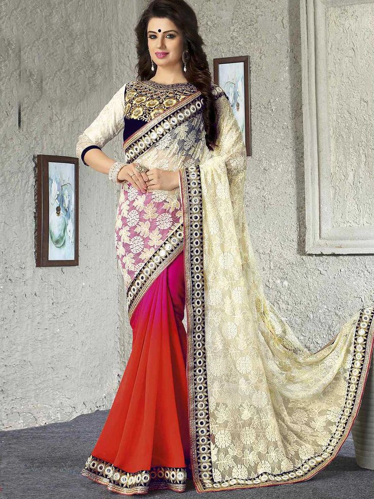 Marvelous white and pink bemberg ceremonial wear half and half saree. Having fabric bemberg, georgette, jacquard and velvet. The enticing lace border work and zari work a intensive attribute of this saree. Comes with matching blouse. #mydesiwear #sarees #georgettevelvet #ceremonywearsaree #festivewearsaree