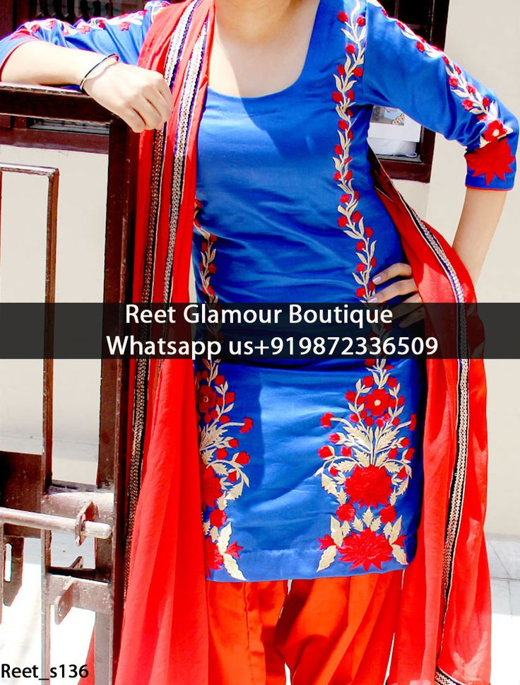 Adorable Royal Blue And Red Embroidered Punjabi Suit Product Code : Reet_s136 To order, call/whats app on +919872336509 We offer huge variety of Punjabi Suits, Anarkali Suits, Lehenga Choli, Bridal Suits,Sari, Gowns,etc.We Can also Design any Suit of your Own Design and any Color Combination.