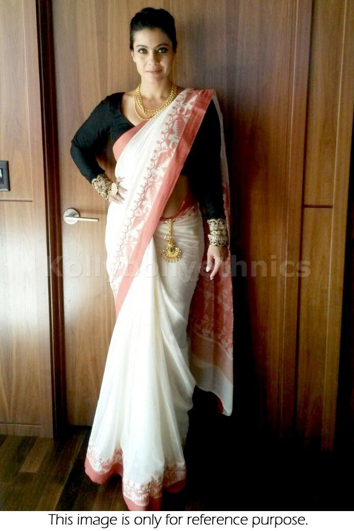 Bollywood Actress Kajol Georgette Saree in White color