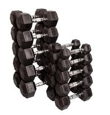 VTX Rubber Hex Dumbbell Set 5 to 75 lbs.