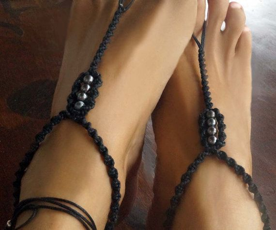Check out this item in my Etsy shop https://www.etsy.com/listing/400667697/black-pearl-barefoot-sandals-black