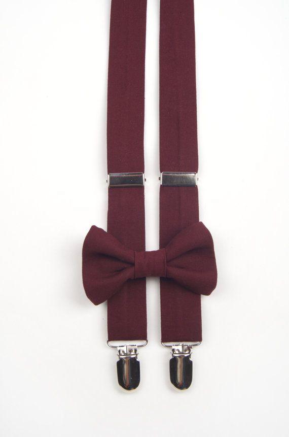 Burgundy Bow Tie & Suspenders Set burgundy bow tie by DapperGent