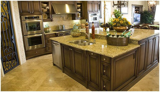 Best Medium Brown Glazed Cabinets With New Venetian Gold 400 x 300