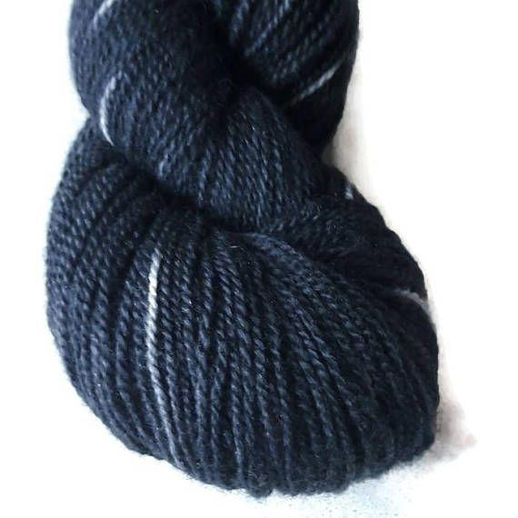 Merino Glitter Luxury Sock Yarn Black Black Hand Dyed 2-ply