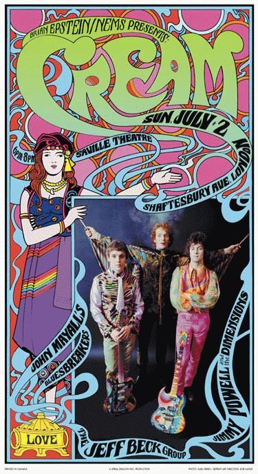 ❦ Cream [Eric Clapton, Ginger Baker, and Don Brewer] with Jeff Beck - fantastic 60's poster. Jun♥♥♫♫♥♫♥♥J