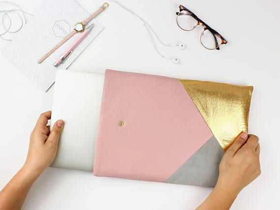 Pink Leather Laptop Sleeve // Macbook Sleeve // Gift For Her