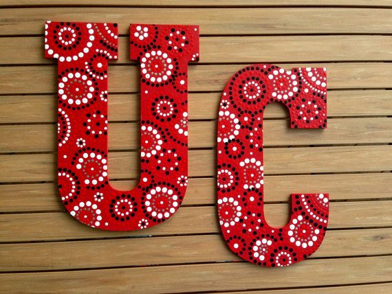 "University of Cincinnati Wall Decor, Red, White, Black, Zentangle Decorated 13"" Wooden Letters, Dorm Accessory - UC Bearcat Baby, Wall Art"