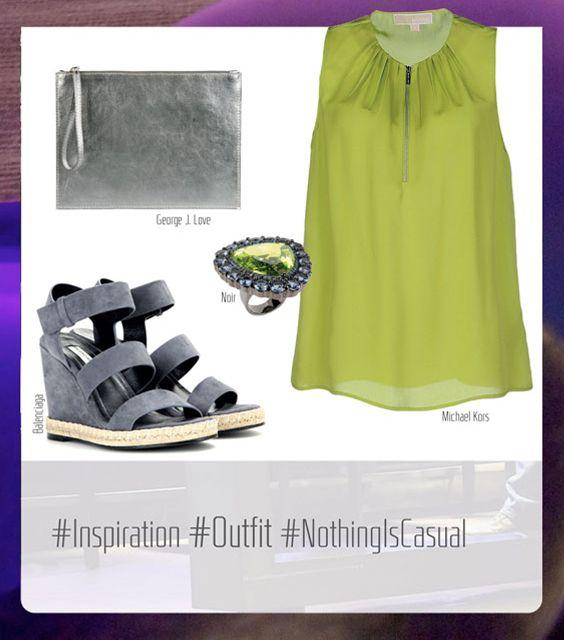 Amelie On The Rocks Outfit:  Michael Kors Dress, George J. Love Handbag, Balenciaga Sandals, and Noir Ring.