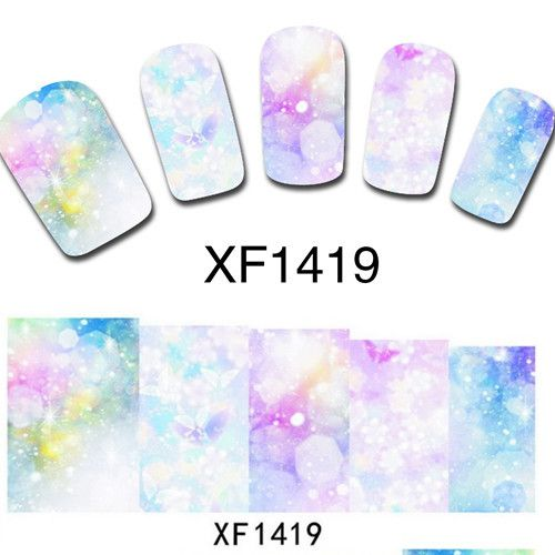 1 sheet Bright Flower Design Water Transfer Nail Art Stickers Decals Decorations DIY Watermark Wraps Manicure Tools #XF1419