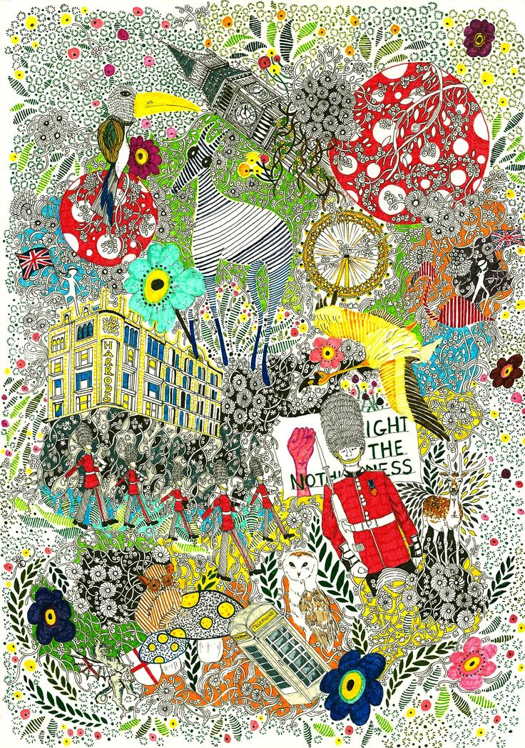 Memory in London #illustration #travel #london #britain #doodle #linedrawing #color
