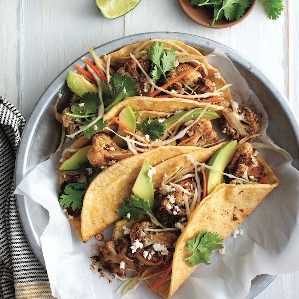 Two dinners in one! Make these vegetarian tacos tonight, and whirl the remaining roasted cauliflower into a soup tomorrow.