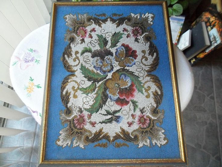 ANTIQUE BEADED FRENCH TAPESTRY - VICTORIAN FIRE-SCREEN STYLE IN FRAME -Floral