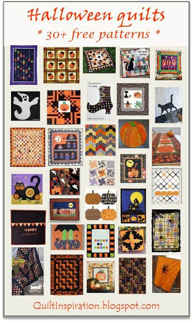 = free patterns = Halloween quilts.  February 2016 at Quilt Inspiration.                                                                                                                                                      More