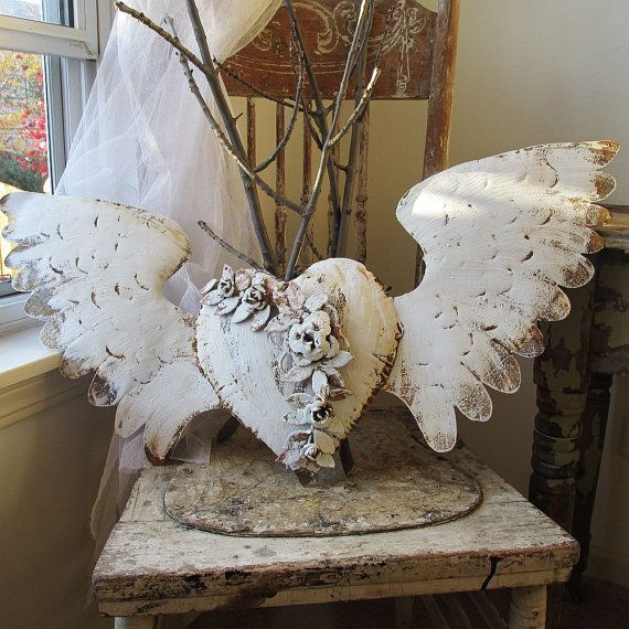 Painted metal heart w/ wings wall hanging French Nordic white rusty distressed shabby cottage chic ornate winged heart anita Spero Design