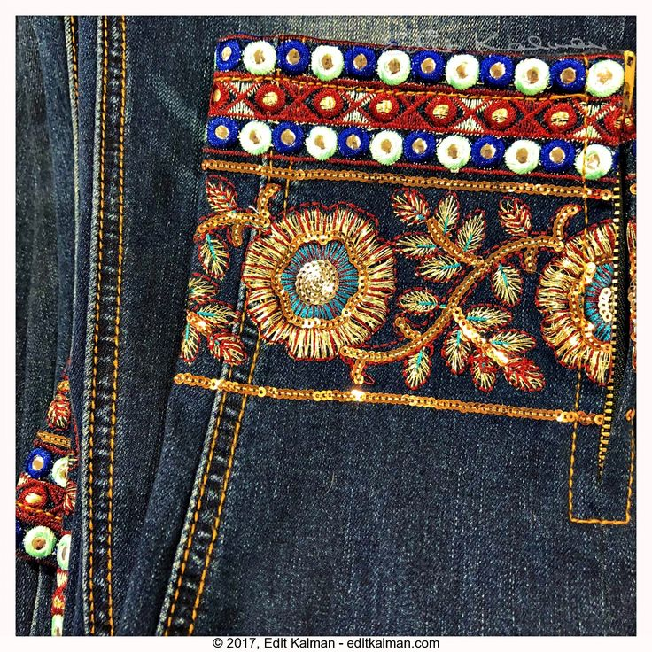 Christmas #Embroidery, #Holiday, #Jeans, #Sparkle - https://goo.gl/GHBSfE
