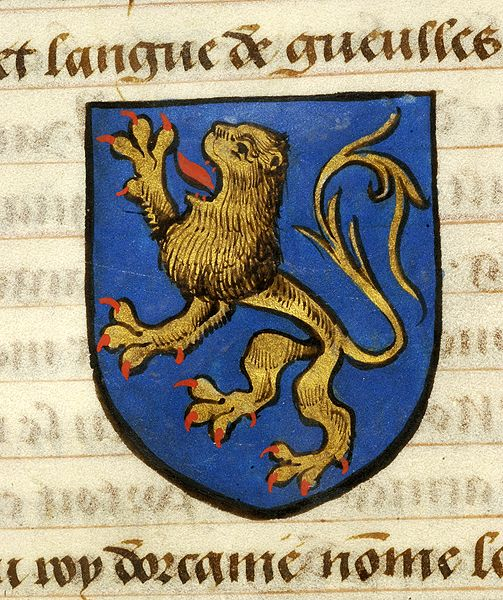 Escutcheon decorated with heraldry of Urien (azure, lion rampant or, armed and langued gules) | Noms, armes et blasons des chevaliers de la Table Ronde | France | ca. 1500 | The Morgan Library & Museum