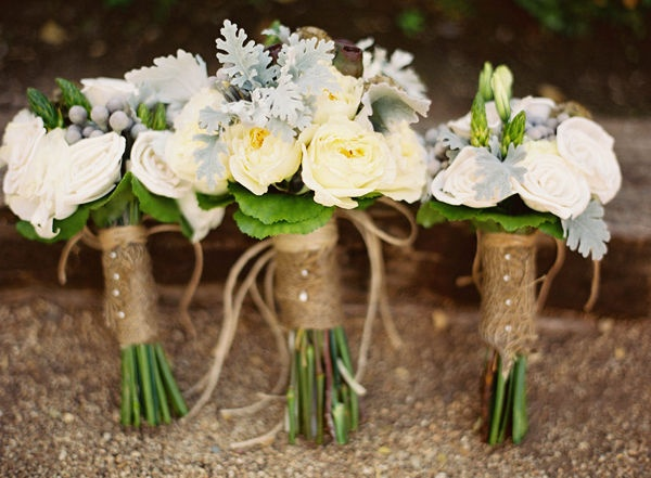 lambs ear, yellow and white garden roses with a twine and burlap wrap