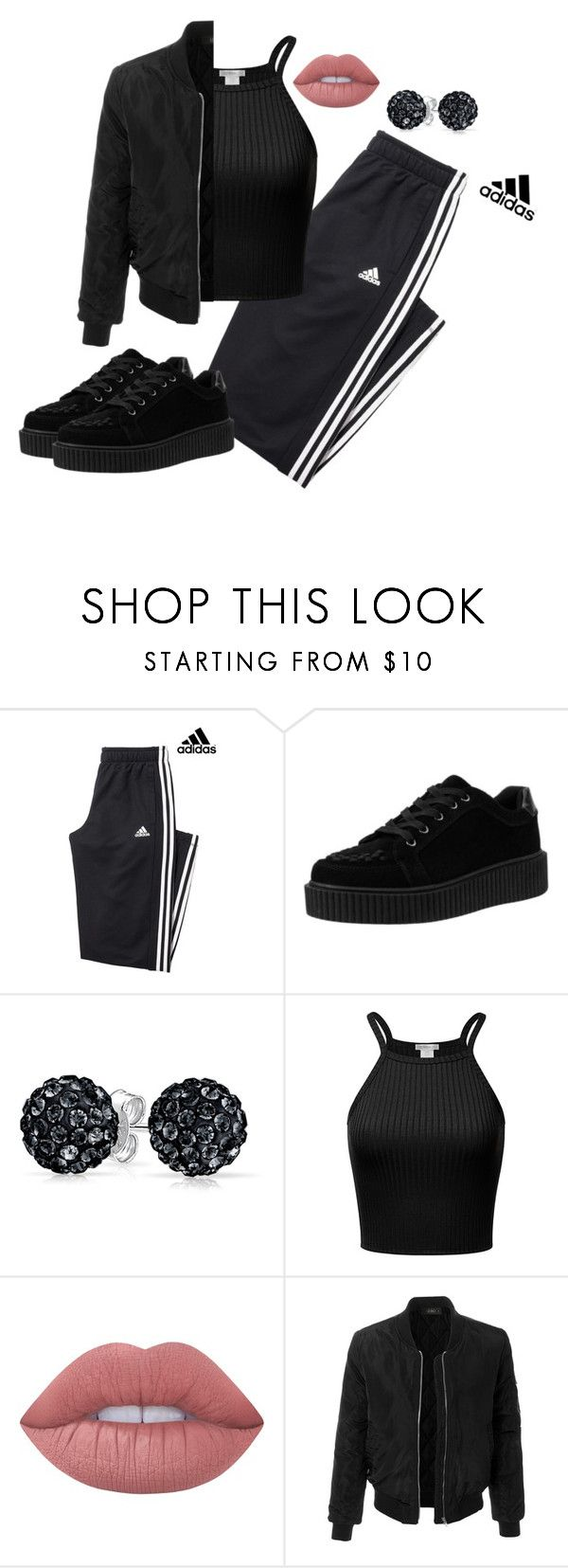 """""""A little chola, a little classy!"""" by fiona-reyes ❤ liked on Polyvore featuring adidas, Bling Jewelry, Lime Crime and LE3NO"""