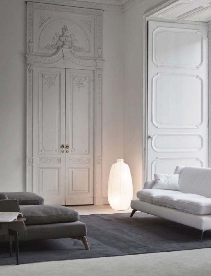 Classical Parisian apartment in white and grey tones