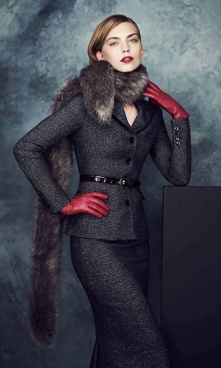 Gray Suit, red gloves and fur