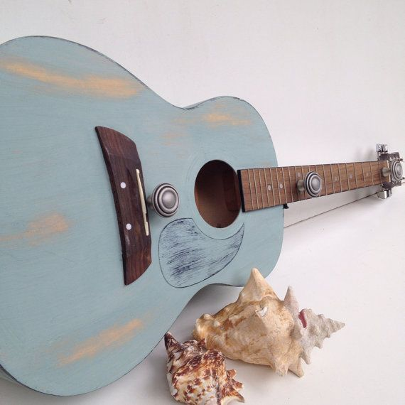 Beach Blue Acoustic Guitar Coat Rack With Three Hangers Hat Rack Rustic Coat Rack Wooden Coat Rack on Etsy, $120.00