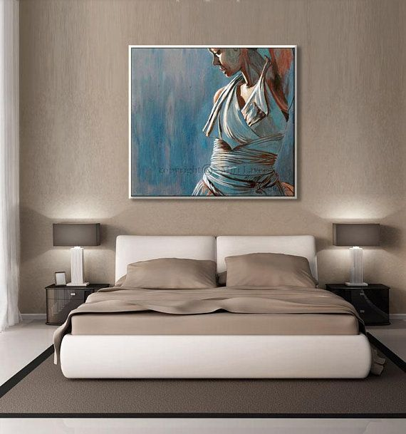 Original Oil Painting For Bedroom, Bedroom Wall Decor, Figure Art ...