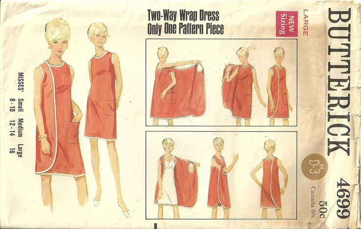 Butterick 4699 Vintage 60's Reversible Mod 3 Armhole Wrap Dress Sewing Pattern Size 16