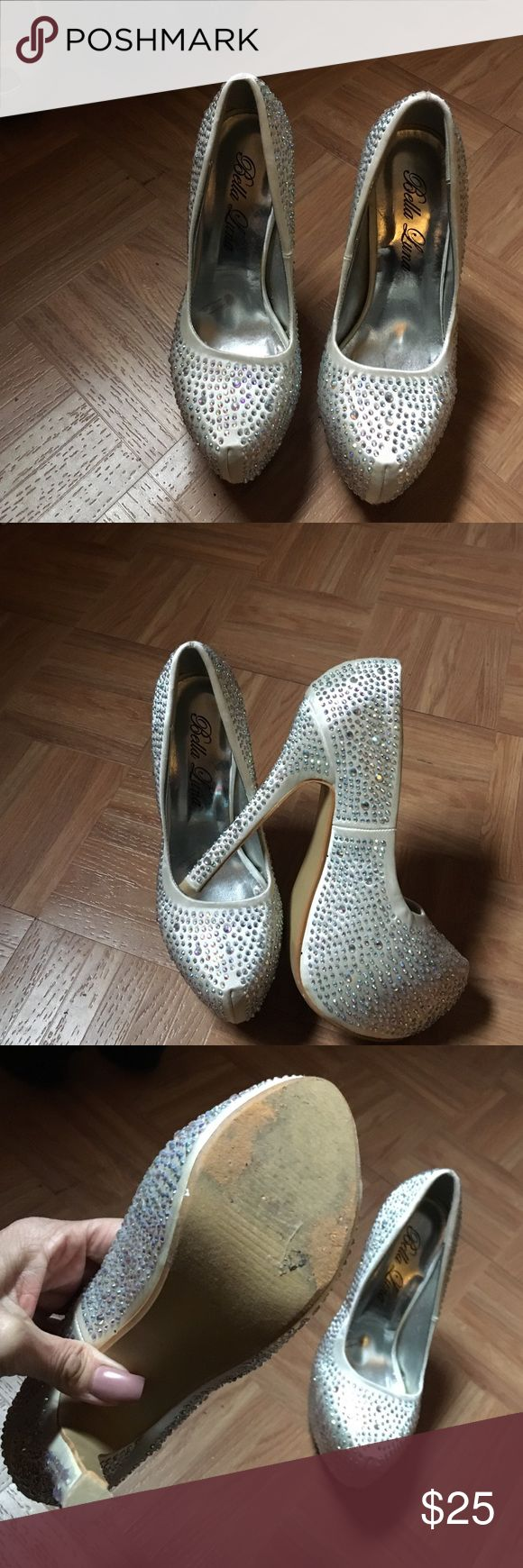 Bella Luna shoes Silver platforms covered in rhinestones Shoes Platforms